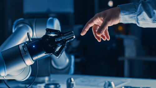 cobot working with human worker